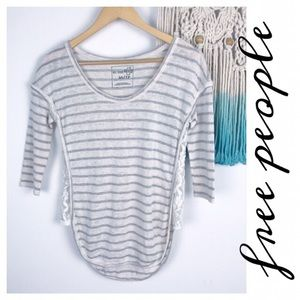 Free People Striped Gray & Cream Knit Top W/ Lace